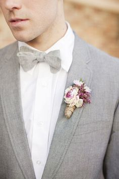 A boutonniere is a necessary accessory for any groom, and it should continue the style and the colors you've chosen, or maybe look as a tiny copy of the Wedding Men, Wedding Groom, Wedding Suits, Wedding Styles, Dream Wedding, Spring Wedding, Groom Attire, Groom And Groomsmen, Groomsmen Outfits