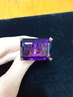 Alexandra Mor Emerald-Cut Rich Purple Amethyst & Diamond Ring