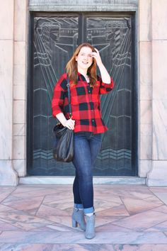 I am obsessed with this buffalo plaid look for less! The shirt is less than $25 from Old Navy and the jeans are less than $50!