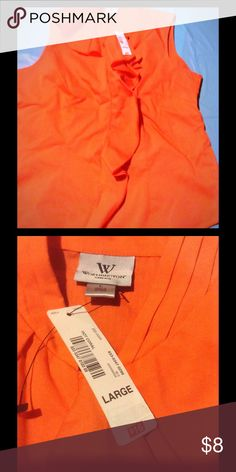 NWT orange shirt NWT orange shirt with ruffle down the front of the buttons. Worthington Tops Tank Tops