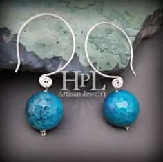 """Artisan Made Earrings sterling silver .925 hand forged hoops- faceted agate large stones  measure approx. 2"""" long #earrings #blue #agate #sterling #hammered #artisan"""