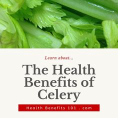 Learn about the health benefits of celery... Celery, Health Benefits, Vegetables, Recipes, Food, Essen, Vegetable Recipes, Meals, Eten