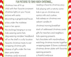 List of Pictures to Take Each Christmas