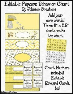 """This EDITABLE popcorn themed behavior chart will not only brighten your classroom, it will help improve your students' behavior. The chart comes in three 11"""" x 8.5"""" sections that you will print and then tape together. The finished chart is 25 1/2"""" long and 11"""" wide."""