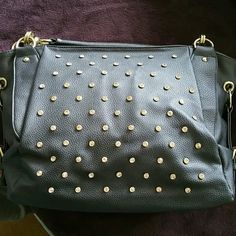 Charming Charlies Purse Gunmetal purse from.charming Charlies with gold rivets and white crystals Charming Charlie Bags Hobos