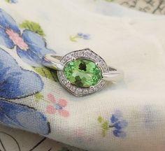 Original design.  Art Deco meets 2015. Mint garnet (January birthstone) with diamonds in 18K white gold. www.zomacolor.com