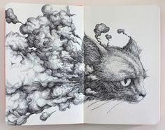 Cat - Moleskine Sketch by Kiro Zeng, via Behance