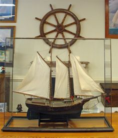 19th Century Model of a two-masted Schooner- Marine Ship Models