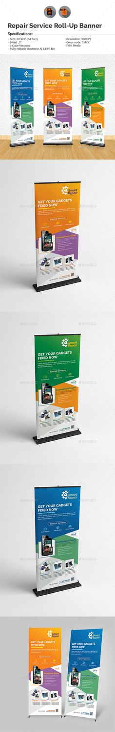 Repair Service Roll-up Banner Template Vector EPS, AI. Download here: http://graphicriver.net/item/repair-service-rollup-banner-template/15507386?ref=ksioks