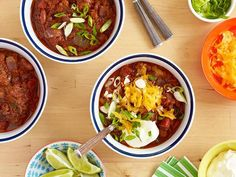 Pat's Famous Beef and Pork Chili : The Neelys make a beef-filled hearty chili that's the perfect centerpiece for a serve-yourself chili bar. Set out garnishes like lime wedges, sour cream, shredded cheese and scallions.