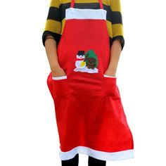 Red Christmas Snowman Apron Adult Pinafore Kitchen Cooking Tool