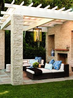 Outdoor living - - Dedon furnishings from Janus et Cie sit under the pergola. Outdoor Pergola, Outdoor Rooms, Backyard Patio, Outdoor Living, Outdoor Bedroom, Small Pergola, Pergola Swing, Backyard Retreat, Pergola Lighting