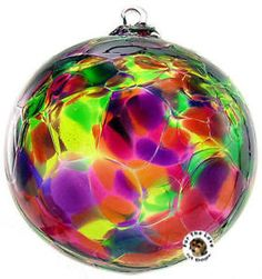 Witch Balls Pairpoint Glass | Kitras Glass Calico Witch Ball Ornament Garden Multi | eBay