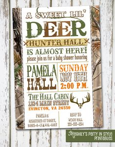 Hunting Theme - Sweet Lil' Deer - Baby Shower Invitation. $8.00, via Etsy. LOVE these!  Totally Terry and me.