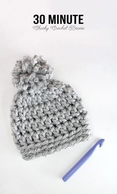 Crochet Diy Easy Chunky Crochet Beanie - a 30 minute hat! Free pattern from Persia Lou - This easy chunky crochet beanie works up in just 30 minutes! This free pattern will have you making gifts for friends and family in no time. Crochet Beanie Pattern, Crochet Yarn, Free Crochet, Kids Crochet Hats Free Pattern, Crochet Hats For Kids, Chunky Hat Pattern, Crochet Projects To Sell, Crochet Pillow, Crochet Mandala