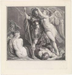 Pieter Tanjé | Victoria kroont een deugdzame held, Pieter Tanjé, Peter Paul Rubens, Charles François Hutin, 1716 - 1761 | De godin van de overwinning, Victoria, zet een lauwerkrans op het hoofd van een deugdzame gaharnaste held. De held heeft drank, genotzucht en nijd overwonnen. Hij staat met zijn voet op Bacchus, de god van de wijn. Achter hem zitten de treurende Venus en Amor en staat de Nijd.