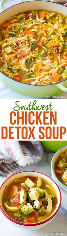 Low Carb Meals Best Southwest Chicken Detox Soup Recipe - Southwest Chicken Detox Soup Recipe - A healthy low-fat, low-carb, gluten-free soup with tons of flavor. This southwest chicken soup packs a punch! Detox Recipes, Paleo Recipes, Low Carb Recipes, Cooking Recipes, Punch Recipes, Crockpot Recipes, Free Recipes, Lowfat Soup Recipes, Recipes Dinner