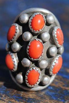 Vintage Old Store Stock Navajo Sterling Silver Red Coral Dome Ring J Roybal | eBay