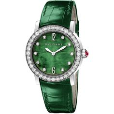 Bvlgari Bvlgari Automatic Ladies Watch ($28,300) ❤ liked on Polyvore featuring jewelry, watches, bulgari, dial watches, green jewelry, bulgari jewellery and white gold jewelry