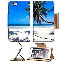 MSD Premium Apple iPhone 6 Plus iPhone 6S Plus Flip Pu Leather Wallet Case iPhone6 Plus IMAGE ID 30120979 a beach is beautiful green coconut the green sea the sky is blue >>> Check this awesome product by going to the link at the image.