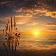 Beautiful Sunrise and Sunset amaze your eyes Landscape Photography, Nature Photography, Sailboat Painting, Boat Art, Beautiful Sunrise, Belle Photo, Beautiful Landscapes, Beautiful World, Sailing Ships