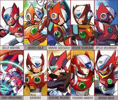"""macintoshpluss: """" Capcom & manga faces of Zero. Hopefully I got all these Japanese names right… """""""