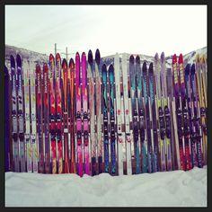"""Ski"" fence in Park City, Utah.  So fun and colorful!"