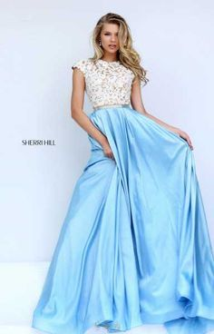 Sherri Hill 50843 Light Blue Skirt White Lace Top Capped sleeves modest prom dresses Ypsilon Dresses Salt Lake City Utah PROM Pageant and Evening Wear Formal Formalwear Store High School Dance Dresses Homecoming Sweethearts Unique Prom Dresses Sherri Hill Prom Dresses, Prom Dresses 2017, Grad Dresses, Pageant Dresses, Modest Dresses, Dance Dresses, Pretty Dresses, Beautiful Dresses, Quinceanera Dresses