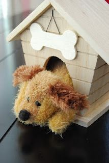 Bird house turned dog house from Michaels craft store