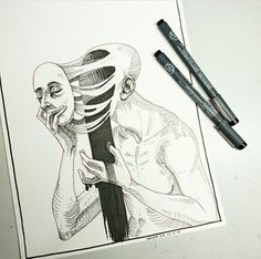 WEBSTA Caught up with Inktober, and here's my Creepy Drawings, Dark Art Drawings, Art Drawings Sketches, Pencil Drawings, Inspiration Art, Sketchbook Inspiration, Art Inspo, Sketchbook Ideas, Gcse Art Sketchbook