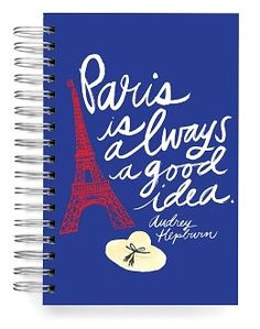 Recycled Paris Quote Journal 6'' x 9'' $12.95 Stimulate your mind and capture your aspirations and ideas in this bold, Earth-friendly journal, adorned with an Audrey Hepburn quote. Strong wire-o ring binding holds together 150 lined pages, allowing the journal to lay flat for a convenient and enjoyable journaling experience. http://laurenrich.blujay.com