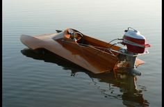 Vintage Wood Speed Boat Mercury Outboard