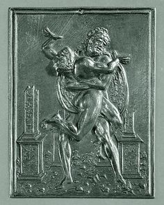 Hercules and Antaeus are shown between four broken all'antica pillars. This plaquette may have been part of the same series as the Mars and Victory plaquette in the Lehman Collection (1975.1.1345). A variant by Moderno exists with identical figures placed under a vault