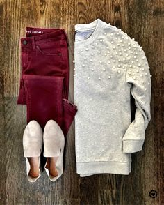 IG: @mrscasual | Embellished sweater, red skinny jeans, & gray flats