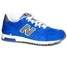 New Balance 565 Trainers (185 BRL) ❤ liked on Polyvore featuring men's fashion, men's shoes, men's sneakers, blue, mens blue leather shoes, mens blue shoes, mens leather shoes, new balance mens sneakers and mens blue sneakers