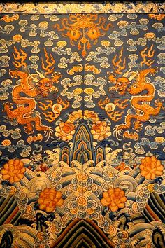 Chinese robe (Deconstructed), C. Chinese Design, Chinese Style, Chinese Ornament, Chinese Patterns, Chinese Embroidery, Tibetan Art, Oriental Pattern, China Art, Korean Art