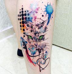 Watercolor Tattoo Ideas 2016 Of Animal Cat Tattoo Color At Leg Tattoo www.ontattoos.com