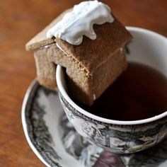 Little gingerbread houses, perched on tea cups