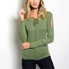 Beautiful sage cold shoulder lace up top! Stunning color- ribbed top with cold shoulders and lace up design - a must have for spring! 1 LEFT Tops Blouses