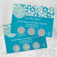 Big Day - Save the Date Scratch Off Card - shown in Palm. Other colors available at Quaint Wedding Stationery