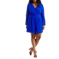 Charlotte Russe Bell Sleeve Surplice Romper ($33) ❤ liked on Polyvore featuring plus size women's fashion, plus size clothing, plus size jumpsuits, plus size rompers, neon cobalt, surplice romper, bell sleeve romper, playsuit romper, charlotte russe rompers and chiffon romper