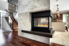 3 Sided Gas Fireplace Family Room Contemporary with 3 Sided Fireplace 3