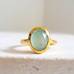 Gold Aqua Chalcedony Ring | See more on LiliKleinJewelry.com