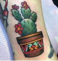 Simple colored cactus tattoo #cactus #tattoo #girls #women #colour #bright #pretty #cute