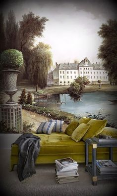 The Latest Wallpaper Trends For Your Decoration Scenic Wallpaper, Interior Wallpaper, Wall Wallpaper, Zuber Wallpaper, Painted Wallpaper, French Apartment, Apartment Ideas, Latest Wallpapers, Mural Painting