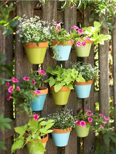 Outdoor Wall Art -  Add color to your outdoor decorating with a fence covered with suspended flowerpots. It's wall art for your outdoor room. Start with nine terra-cotta pots and coat the bases with spray paint. Next, plot the grid arrangement and secure pot hangers to the fence. Finish by suspending pots from hangers and filling each container with brightly colored annuals or herbs. (bhg.com)