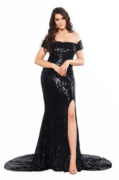 A&N Luxe Label, a formal dresses boutique, can make your dream gown based on your measurements. We specialise in prom, bridesmaids, formal dresses and more. Off Shoulder Gown, Black Off Shoulder, Curve Prom Dresses, Designer Formal Dresses, Sequin Gown, Black Prom, Slit Dress, Black Sequins, Boutique Dresses