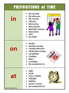 Learn English Online with this helpful poster talking about prepositions of time