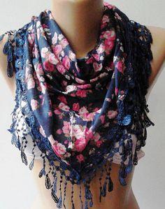 Dark Blue  Pink  flowered  Elegance  Shawl / Scarf with  $19.00