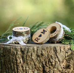 Rustic Ring Bearer Box Alternative Log Ring Box by WoodlandFever
